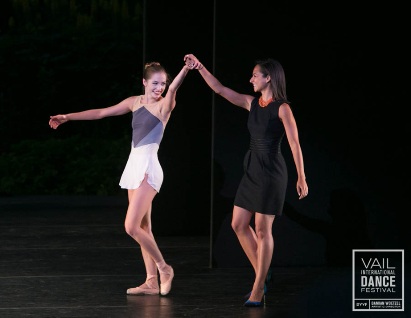 Unity Phelan and Claudia Schreier bowing at the Vail International Dance Festival